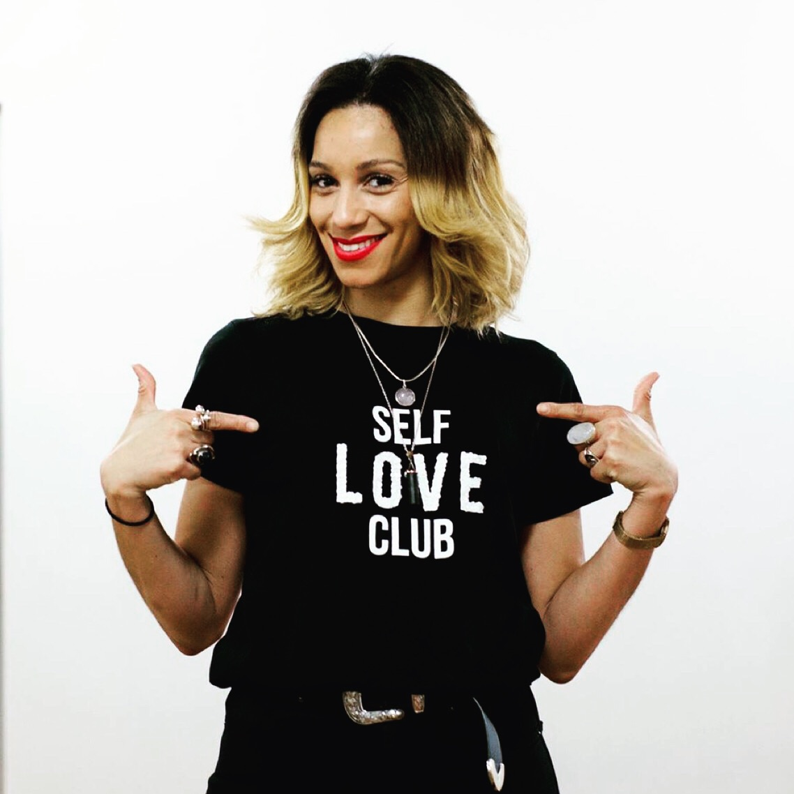Keeley Dann wearing Self love Club T Shirt